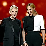 Ellen DeGeneres and Beyoncé introduced Justin Timberlake together.