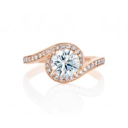 De Beers Caress Pink 18k Rose Gold Solitaire Ring