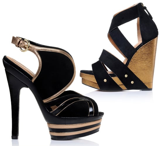 Gold and Black Party Heels by Kurt Geiger for Spring