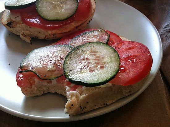 Picture of Bagel With Cream Cheese, Cucumbers, and Heirloom Tomatoes