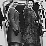 Princess Anne and Queen Elizabeth II at Heathrow Airport in March 1970