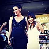 Megan Gale posed with Eva Longoria at the Virgin Melbourne Fashion Festival during the week. Source: Instagram user megankgale