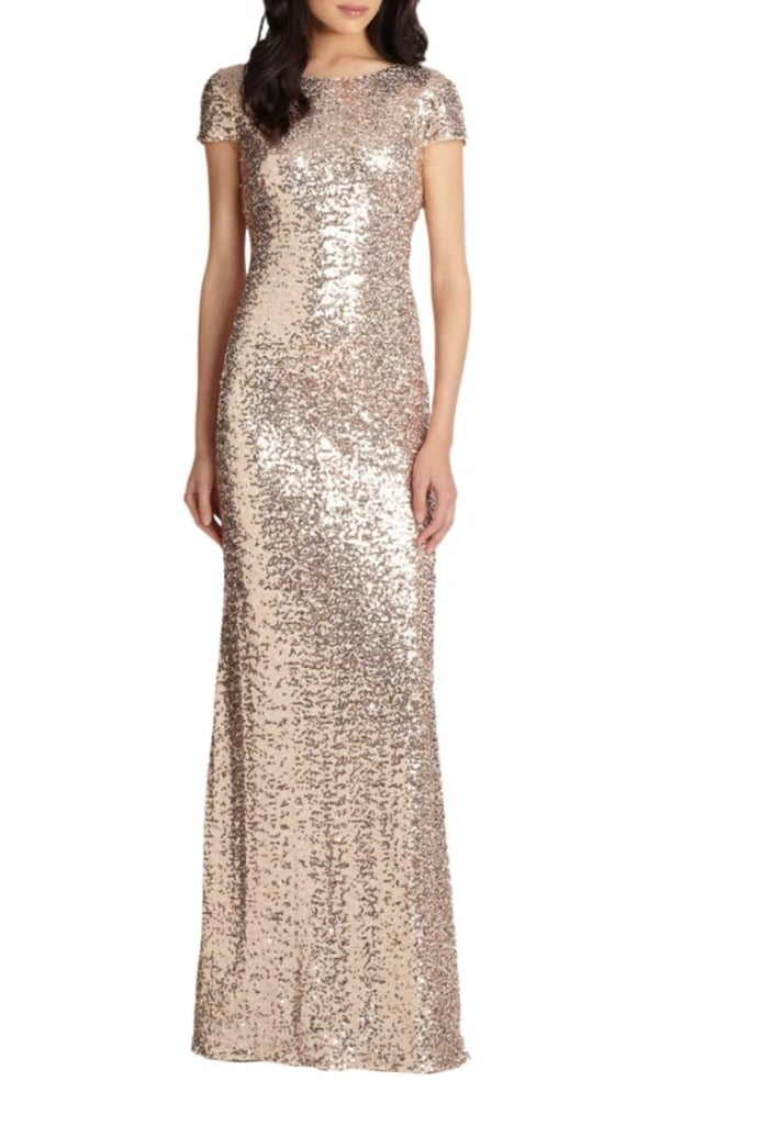 Badgley Mischka Sequin Gown | Miley Cyrus Gold Sequin Dress on The ...