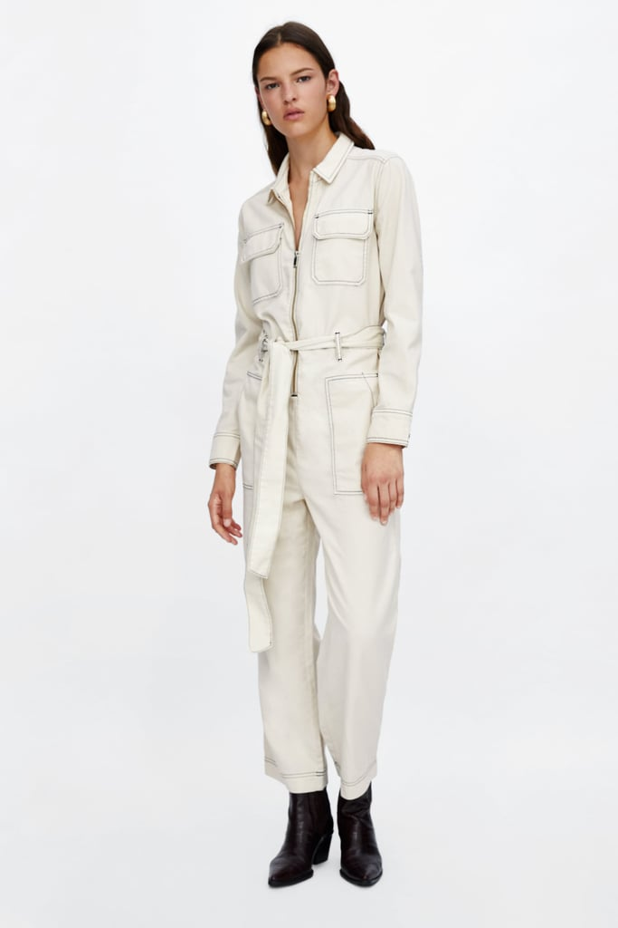 879a5ef99ad Zara Jumpsuit With Contrasting Topstitching