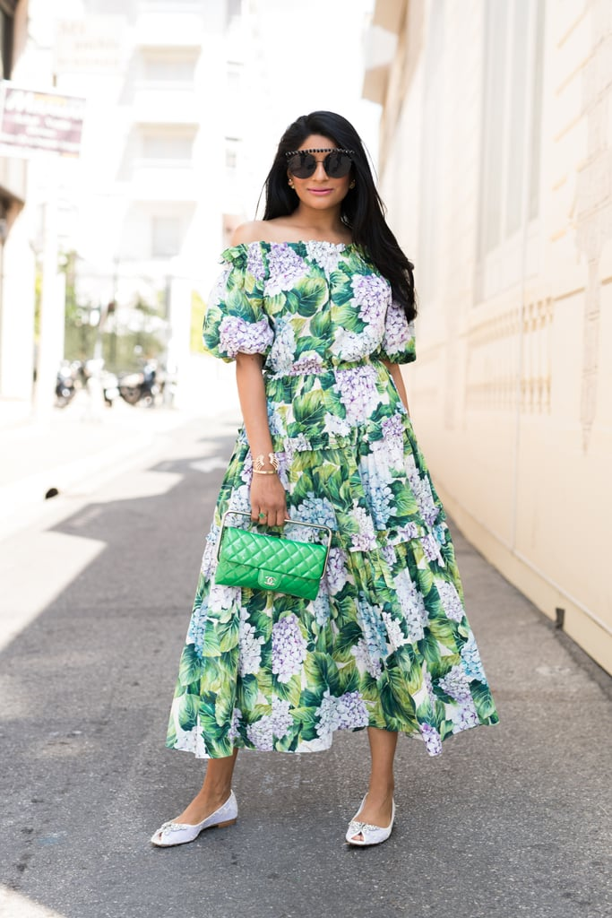 Wear a Floral Off-the-Shoulder Dress With a Colorful Purse and Feminine Flats