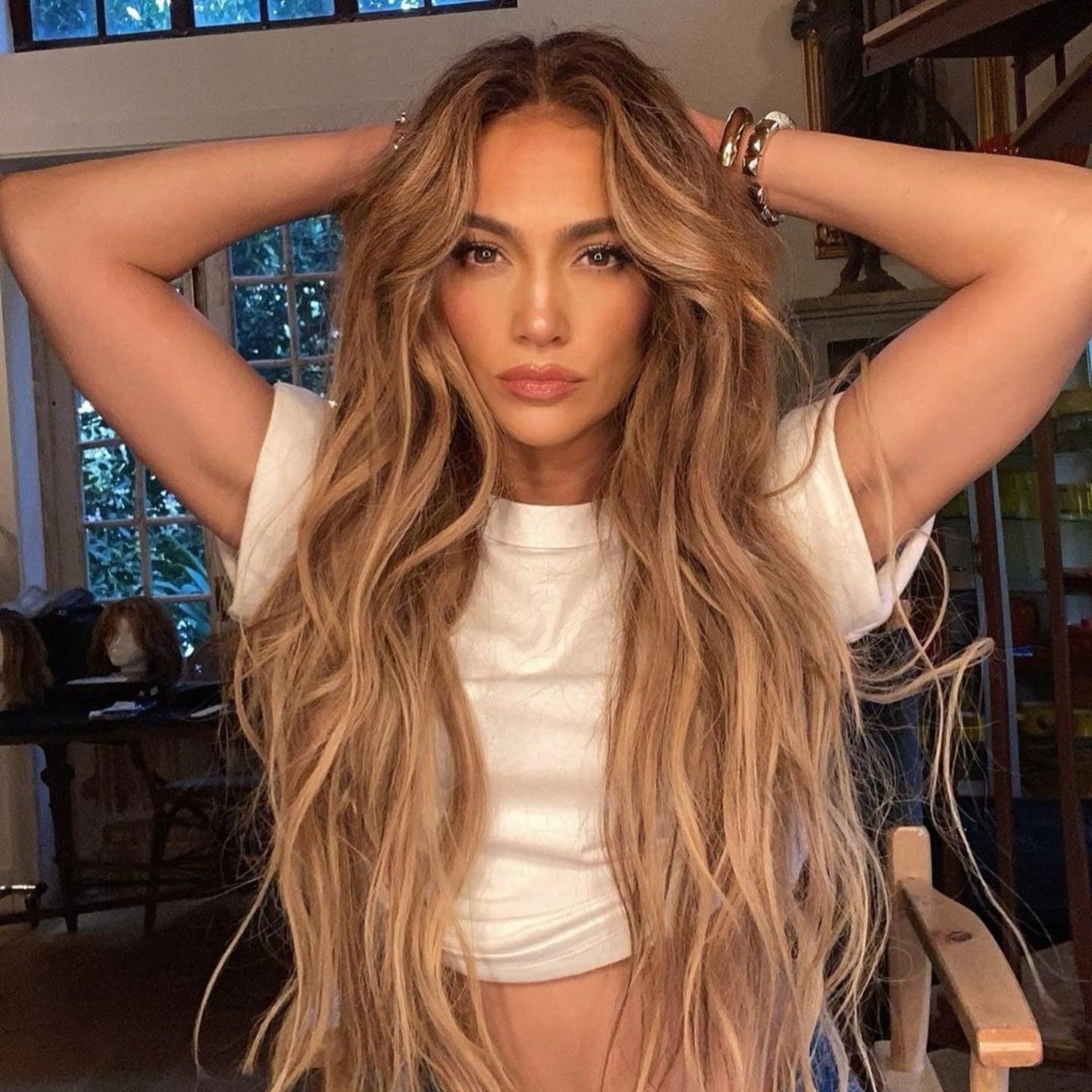 Jennifer Lopez S Long Caramel Blond Hair Extensions Popsugar Beauty