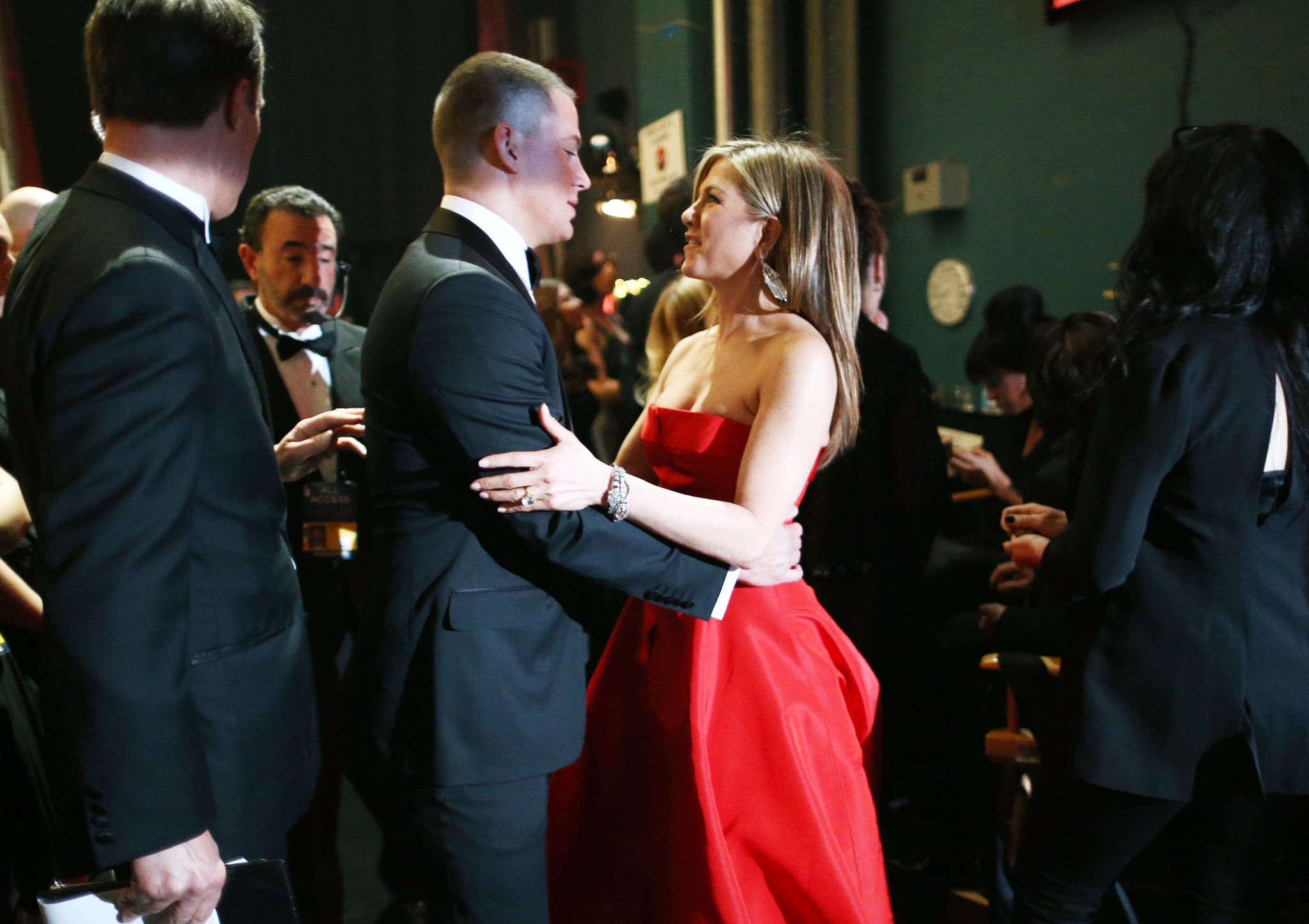 Jennifer Aniston shared an exchange with Channing Tatum backstage.