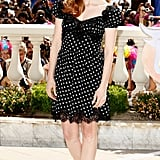 Jessica Chastain showed off her youthful spirit in this black-and-white polka-dotted Dolce & Gabbana dress and black Jimmy Choo sandals for the first Madagascar 3 photocall.