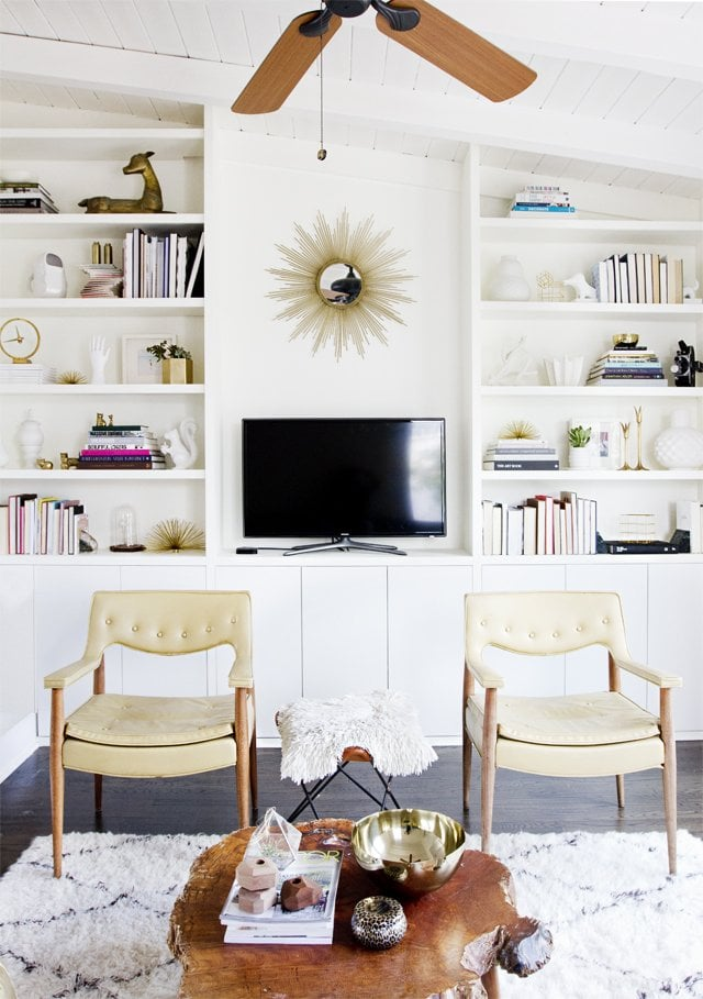 To create a customized entertainment center on the cheap, blogger Sarah Sherman Samuel used a bunch of Ikea kitchen cabinets as the base for her DIY built-in storage system. Source: Sarah Sherman Samuel