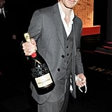 Michael Fassbender appreciated his personalized champagne following London's British Independent Film Awards in December 2011.