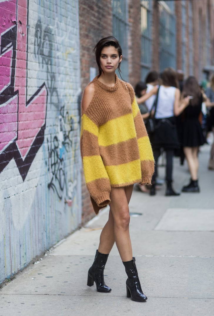 sara sampaio was spotted wearing an oversize striped sweater model street style at fashion. Black Bedroom Furniture Sets. Home Design Ideas
