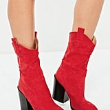 Missguided Red Mid Height Heeled Western Boots
