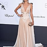 Alessandra Ambrosio looked delicate in her nude embellished Zuhair Murad gown at amfAR's Cinema Against AIDS gala.