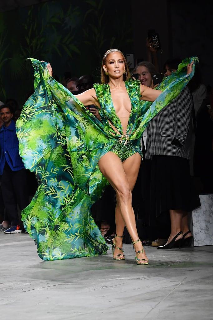 Jennifer Lopez Walking the Versace Runway in a Similar Green Dress During Milan Fashion Week
