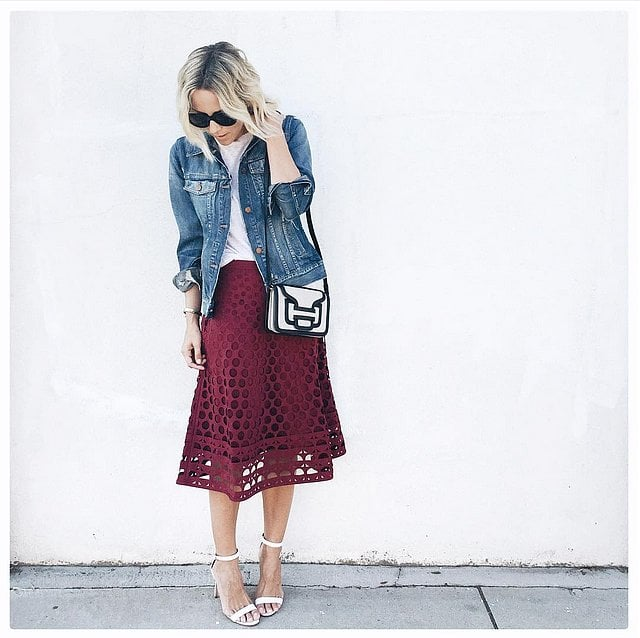 05e356c7d1 A Colourful Midi Skirt, White Top, and Denim Jacket   43 Outfits ...