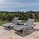 Carlsbad Gray Wicker Chaise Lounge 3-Piece Set