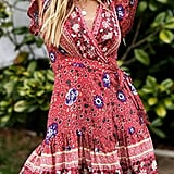Zesica Wrap Bohemian Floral Mini Dress
