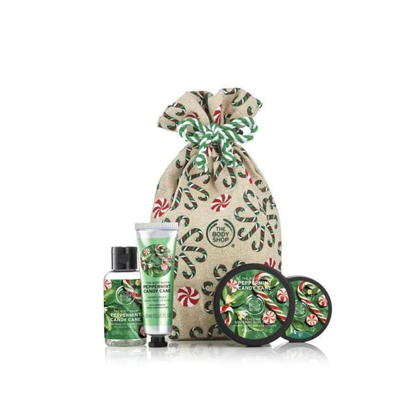 The Body Shop Festive Sack Of Peppermint Candy Cane Delights ($30)