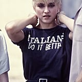 "Sporting an ode to her Italian roots, on the set of ""Papa Don't Preach"" in 1986."