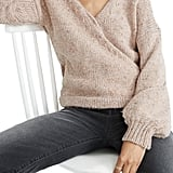 Madewell Beresford Wrap-Front Pullover Sweater