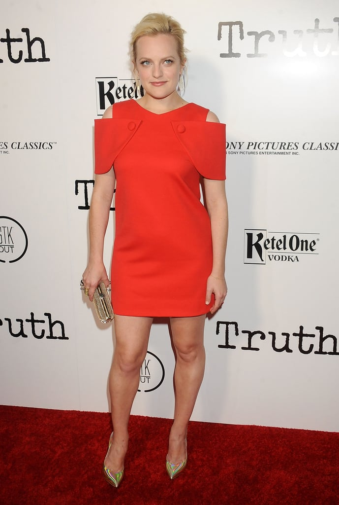 She wore a red cold-shoulder dress to the screening of Truth in 2015.