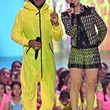 Pharrell Williams and Kaley Cuoco got slimed at the Kids' Choice Awards.