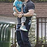 Mark Wahlberg kissed his son Brendan.
