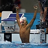 Cheered on by friend Princess Charlene, South Africa's Chad Le Clos was exuberant after beating Michael Phelps.