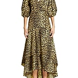 Ganni Leopard Print Cotton Wrap Dress