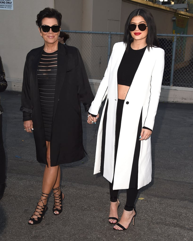 Kris and Kylie Jenner wore similar long blazers to the premiere of The Gallows, Kylie's by Kimora Lee Simmons.