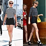 I started out with one of Taylor's signature looks: a striped shirt and a pair of black shorts. While the revealing bottoms left my legs feeling a little bare, this simple outfit is one I'd wear on the weekend or even in a pinch.