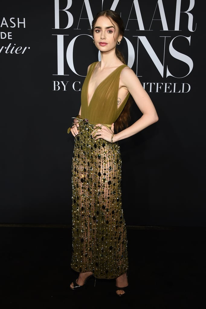 Lily Collins at the Harper's Bazaar ICONS Party During New York Fashion Week