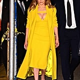 Jennifer Lopez Wearing Yellow Dress in NYC May 2016