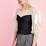 Rebecca Taylor Malorie Embroidery & Taffeta Top