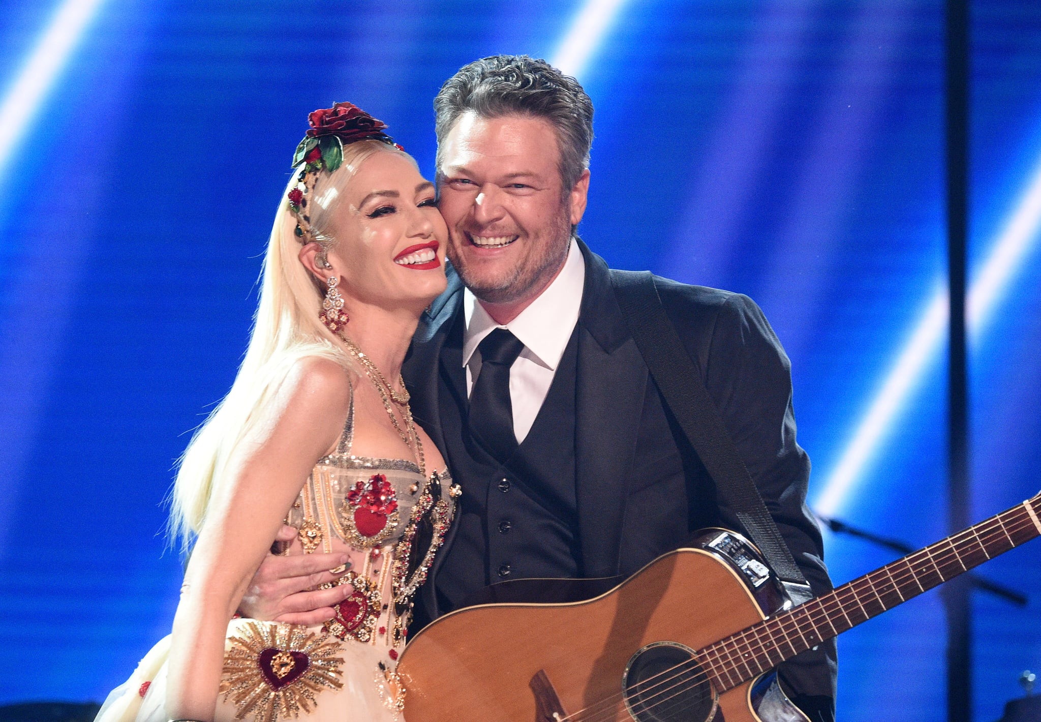 LOS ANGELES, CALIFORNIA - JANUARY 26: Gwen Stefani and Blake Shelton pose onstage during the 62nd Annual GRAMMY Awards at STAPLES Centre on January 26, 2020 in Los Angeles, California. (Photo by Kevin Mazur/Getty Images for The Recording Academy)