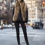 This furry vest is as cosy as it is cool.  Source: Le 21ème | Adam Katz Sinding