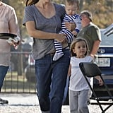 Jennifer Garner took the kids to work as she filmed The Dallas Buyers' Club in New Orleans in November.