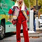 """If your monochrome look feels like """"too much"""" when you look in the mirror, break it up a bit with a printed jacket."""