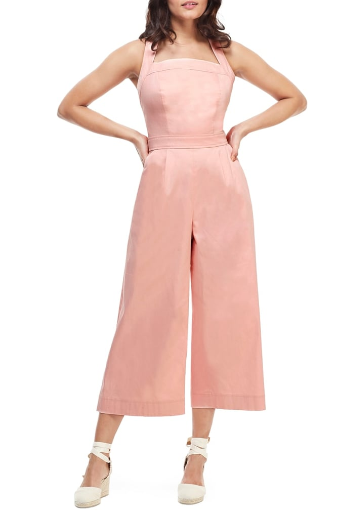 Gal Meets Glam Collection Stephanie Cross-Strap Cotton Jumpsuit