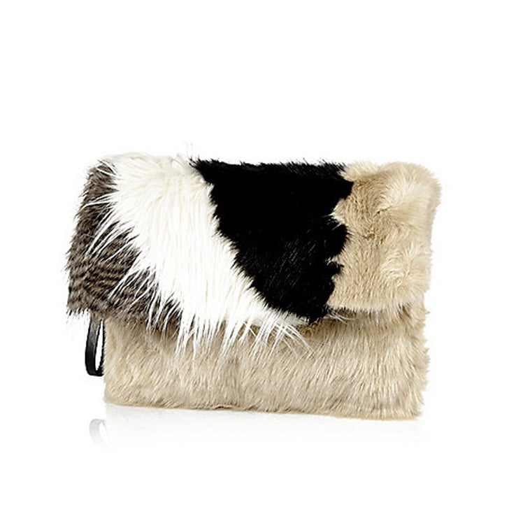 River Island Black Faux Fur Clutch ($70)