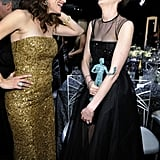 Jennifer Garner laughed with Anne Hathaway.