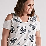 Lucky Brand Floral Embroidered Tee