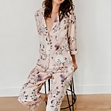Midnight Bakery Heron Print Satin Pajamas