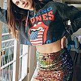 The Rolling Stones 1994 Tour Cutoff Hoodie Sweatshirt and Motel Cherry Sequin Mini Skirt
