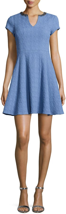 Nanette Lepore Short-Sleeve Textured Fit & Flare Dress ($378)