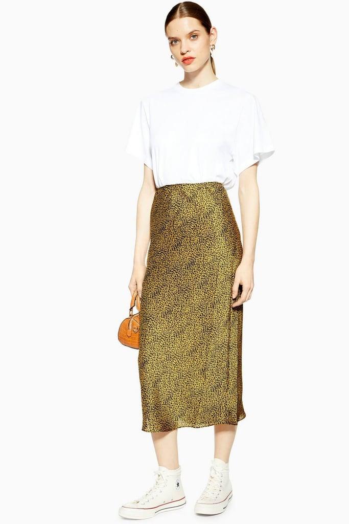 31e23257fe Topshop Animal Bias Satin Midi Skirt | Animal Print Midi Skirts ...