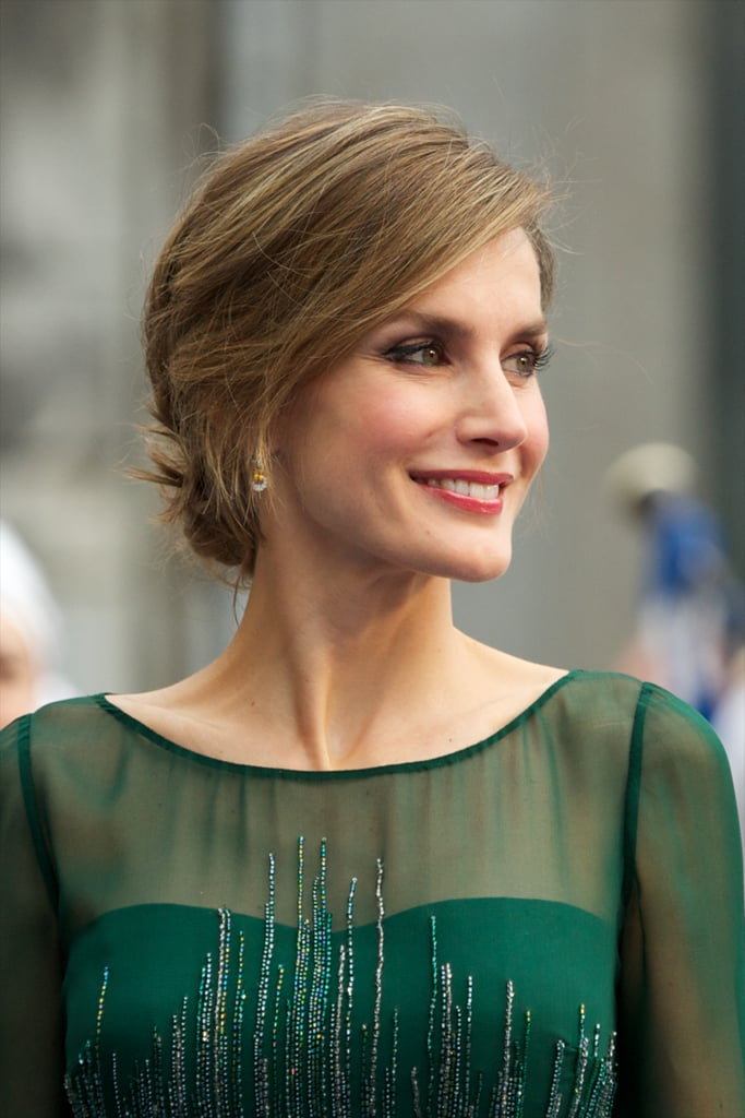 Princess Letizia smiled for the cameras at the Prince of Asturias Awards in at Campoamor Theater in October 2013.