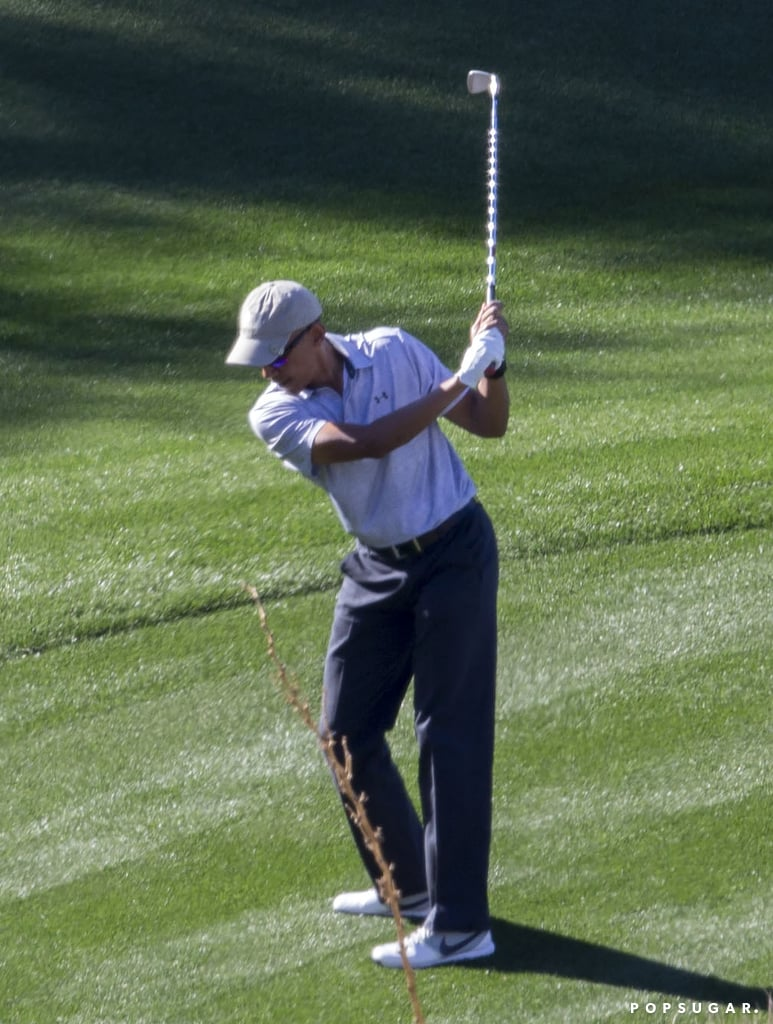 Here he is fresh out of the White House practicing his golf swing in Palm Springs, CA.