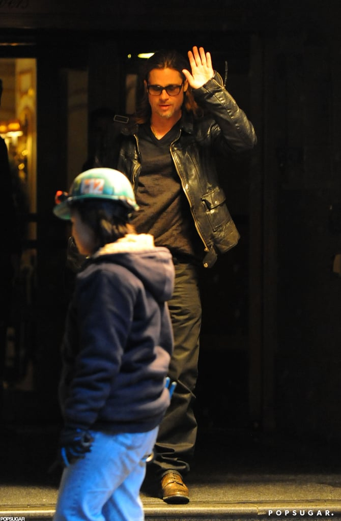 Brad Pitt waved to fans in NYC.