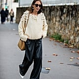 Leather Pants Outfit Idea: Baggy Leather Trousers + Cozy Sweater